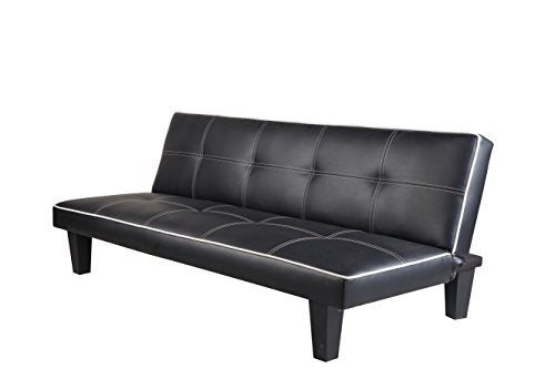 Click Clack faux leather Sofa Bed Black spare room or guest room bed Settee Sale