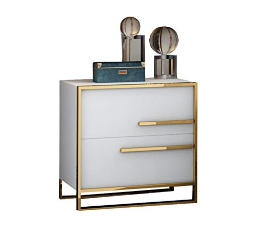 KTH Bedroom Bedside Table Light Luxury Fashion Paint Bedside Table Stainless Steel Drawer Storage Cabinet Storage Cabinet White Bedside Cabinet