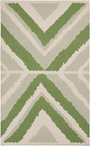 Diva At Home 8' x 11' Anasazi Manta Apple Green and Gray Hand Woven Wool Area Throw Rug