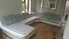 "Load image into Gallery viewer, BMF ""INFINITY XL"" WHITE GREY 6-SEATER EXTRA LARGE FAUX LEATHER & FABRIC U SHAPE CORNER SOFA BED COMFORT - LEFT FACING - 390cm x 310cm"