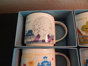 Starbucks Disney Parks Set of 4 Mugs Epcot Magic Kingdom Hollywood Studios Animal Kingdom You Are Here Collection by Disney