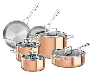 KitchenAid Copper CLAD Tri-Ply 10-Piece Cookware Set KC2PS10CP by KitchenAid