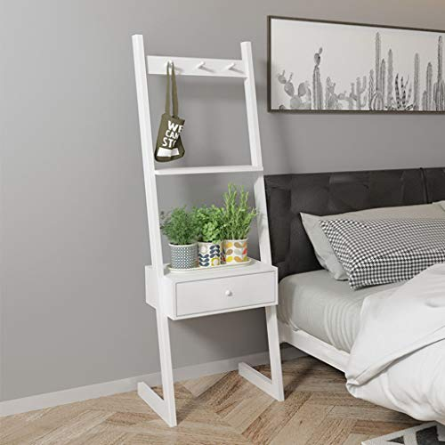 buy popular a4e5a d5358 Multifunctional White Ladder Shelving Unit Display Stand Bedside Table With  Drawers - Bookcase Shelf Ledge Storage
