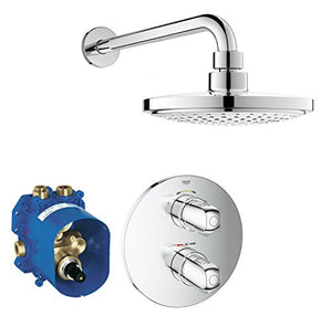 GROHE 34582000 Grohtherm 1000 Thermostatic Shower Set, Shower Trim Set with 2-Way Diverter, Rapido T-Concealed Thermostat and Head Shower