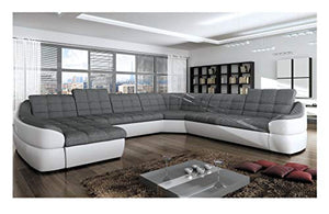 "BMF ""INFINITY XL"" WHITE GREY 6-SEATER EXTRA LARGE FAUX LEATHER & FABRIC U SHAPE CORNER SOFA BED COMFORT - LEFT FACING - 390cm x 310cm"
