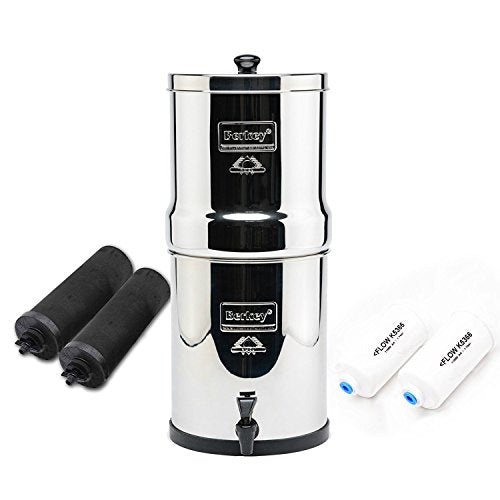 Complete Travel Berkey Water System,2x black purifiers ~2x PF-2 Fluoride filter~