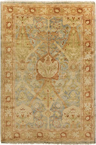 Diva At Home 9' x 13' Autumnal Leaves Rust and Green Hand Knotted Wool Area Throw Rug