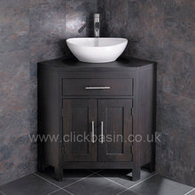 Load image into Gallery viewer, Clickbasin Solid Oak Alta Wenge Coloured Double Door Corner Unit Messina Basin