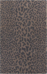 Diva At Home 12' x 15' Les Animaux Gray and Tan Cheetah Hand Tufted Wool Area Throw Rug
