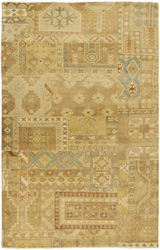 Diva At Home 8' x 11' Tlaxcala Mercado Khaki and Gold Hand Knotted New Zealand Wool Area Throw Rug