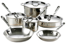 Load image into Gallery viewer, All-Clad 600822 SS Copper Core 5-Ply Bonded Dishwasher Safe 10-Piece Cookware Set, Silver