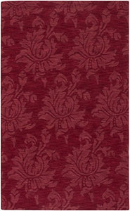 Diva At Home 8' x 11' Giant Flower Foliage Rio Red Hand Loomed Wool Area Throw Rug