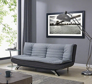 Unmatchable Duo-Contrast 3 Seater Sofabed in Duck Grey/Charcoal Fabric or Charcoal Fabric/White Faux Leather (Grey, Fabric)