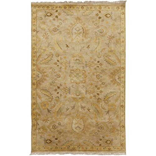 Diva At Home 2' x 3' Royal Victorian Harvest Gold and Beige New Zealand Wool Hand Knotted Area Throw Rug