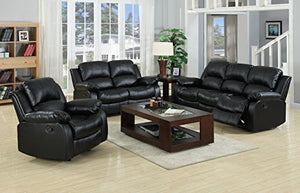 VALENCIA Black Recliner Leather Sofa Suite 3+2 Seater 12 Months warranty
