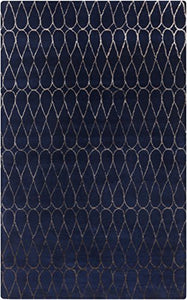 Diva At Home 5' x 8' Diamond Legends Navy Blue and Toffee Brown New Zealand Wool Area Throw Rug