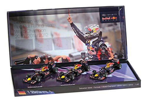Minichamps Red Bull F1 Sebastian Vettel 3 Times World Champion 2010/2011/2012 3 Car Set 1/43 Scale Die-Cast Collectors Models