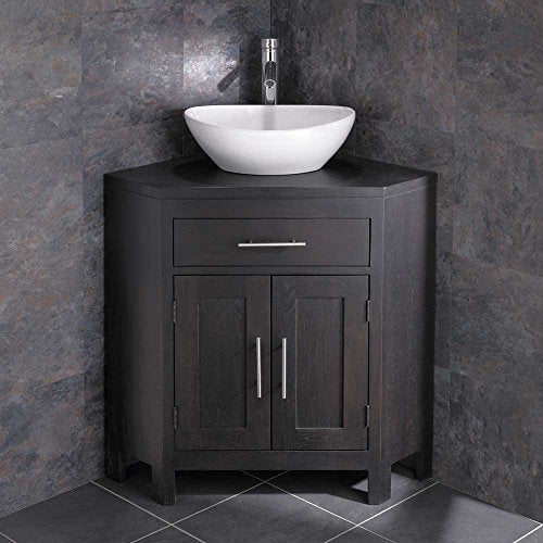 Clickbasin Solid Oak Alta Wenge Coloured Double Door Corner Unit Messina Basin
