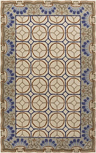 Diva At Home 8' x 11' Aqueous Flabellum Tan and Blue Hand Tufted Wool Area Throw Rug