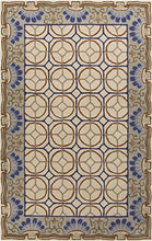 Load image into Gallery viewer, Diva At Home 8' x 11' Aqueous Flabellum Tan and Blue Hand Tufted Wool Area Throw Rug