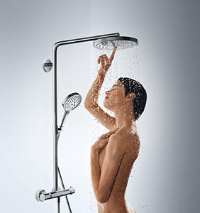 hansgrohe 27133000 Raindance Select S 300 System, 5 Sprays with Thermostatic Shower Mixer, Chrome, Silver