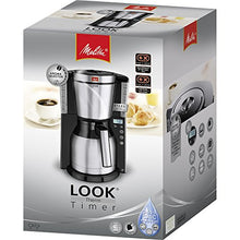 Load image into Gallery viewer, Melitta Look IV Therm Timer, 1011-16, Filter Coffee Machine with Insulated Jug, Timer Feature, Aroma Selector, Black/Brushed Steel