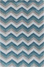 Load image into Gallery viewer, Diva At Home 8' x 11' Zipping Tunnels Pearl Blue, Teal and Light Gray Hand Tufted Area Throw Rug