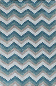 Diva At Home 8' x 11' Zipping Tunnels Pearl Blue, Teal and Light Gray Hand Tufted Area Throw Rug