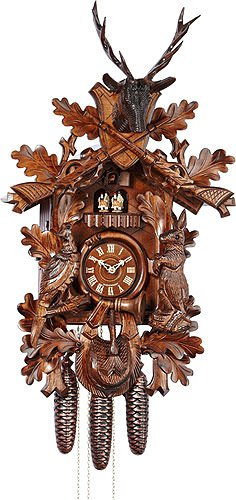 German Cuckoo Clock 8-day-movement Carved-Style 30.00 inch - Authentic black forest cuckoo clock by Anton Schneider