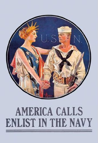 America Calls - Enlist in the Navy 28x42 Giclee on Canvas by Buyenlarge