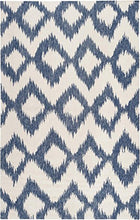Load image into Gallery viewer, Diva At Home 8' x 11' Diamond Melts White and Navy Hand Woven Reversible Wool Area Throw Rug