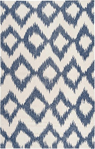Diva At Home 8' x 11' Diamond Melts White and Navy Hand Woven Reversible Wool Area Throw Rug