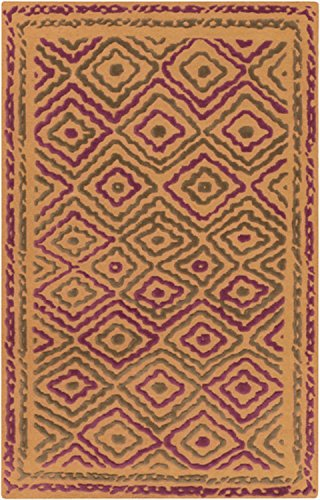 Diva At Home 3.25' x 5.25' Diamond Essence Purple and Burnt Orange Hand Knotted Area Throw Rug