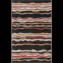 Load image into Gallery viewer, Diva At Home 12' x 15' Wavering Canyon Jet Black and Rust Hand Tufted Wool Area Throw Rug