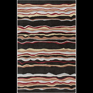 Diva At Home 12' x 15' Wavering Canyon Jet Black and Rust Hand Tufted Wool Area Throw Rug