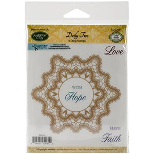 Justrite Mini Cling Stamp Set, 3.5-Inch x 4-Inch, Doily Two