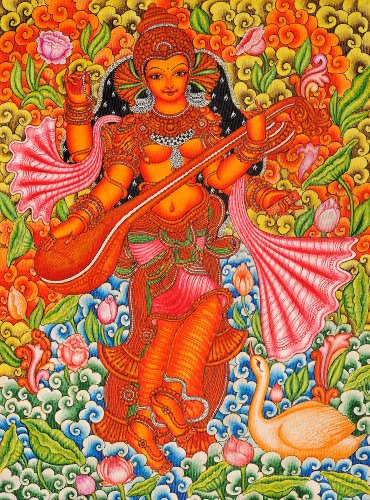 Exotic India Goddess Saraswati - Kerala Mural