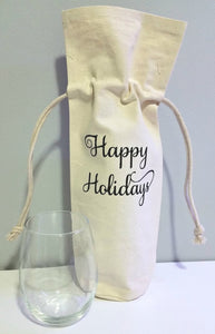 Happy Holidays Wine Bag