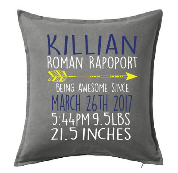 Personalized Birth Stat Pillow Cover With Arrow Accent