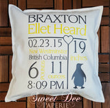 Personalized Birth Stat Pillow Cover With Animal Accent
