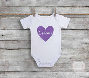 Personalized Heart Baby Bodysuit