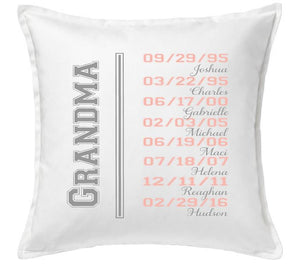 Personalized Decorative Grandparent Pillow Cover