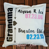 Personalized Decorative Grandparent Pillow Cover With Heart Accent
