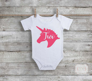 Unicorn Birthday Age Baby Bodysuit