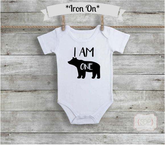 I Am One Baby Bear Iron On Decal