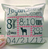 Personalized Birth Stat Pillow Cover With Elephant and Heart Accents
