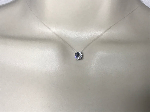 Collier ras du cou solitaire strass de Swarovski de 6 mm fil nylon transparent