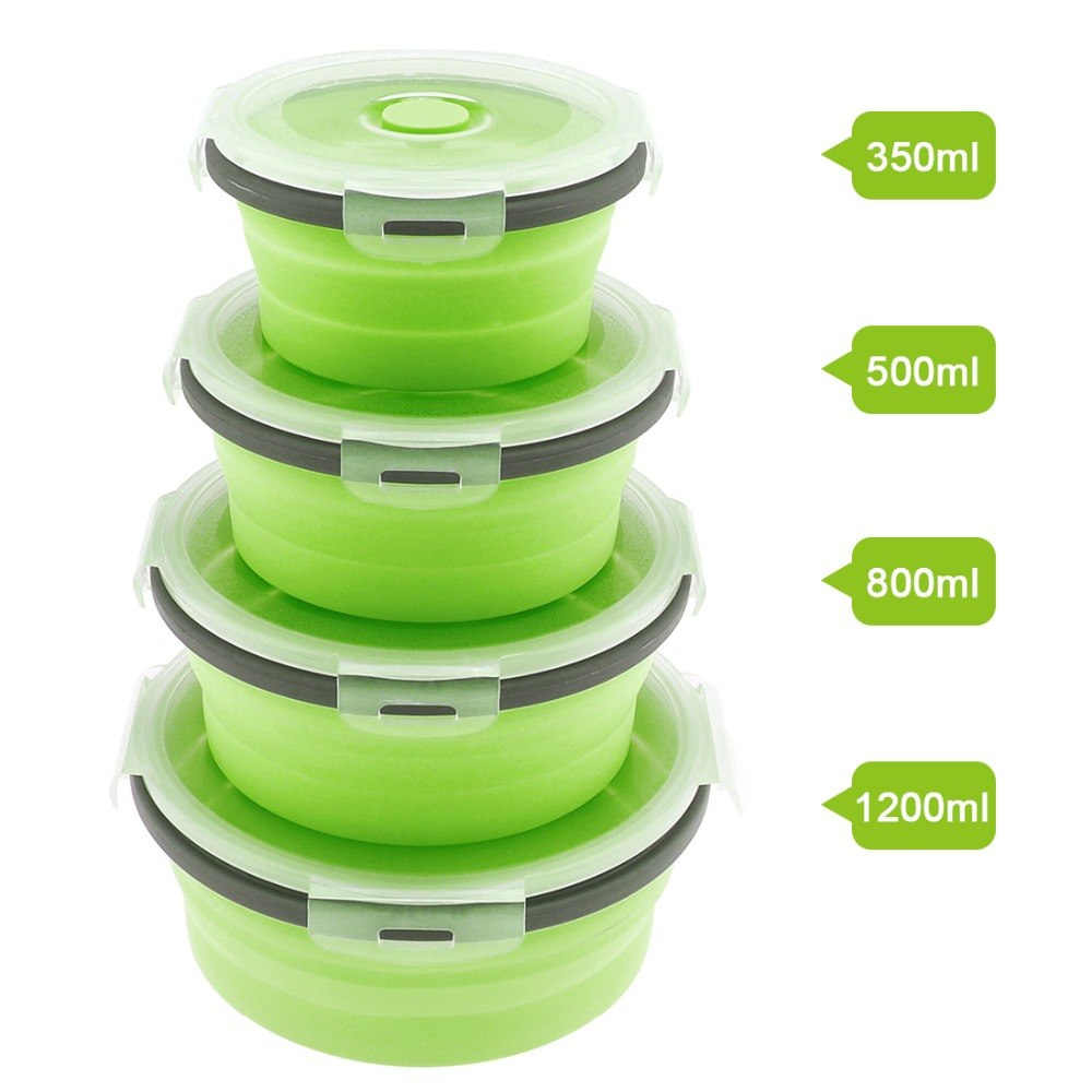 1 4pcs Silicone Scalable Folding Lunch Box Collapsible Food
