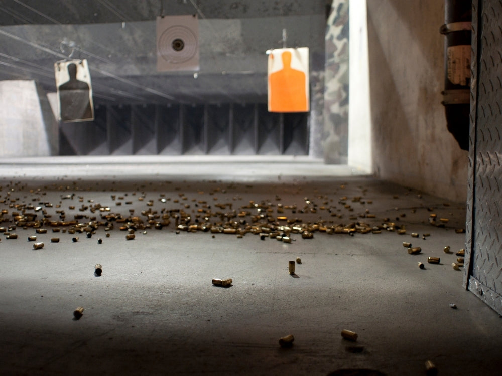 clean bullet casings at the range after shooting
