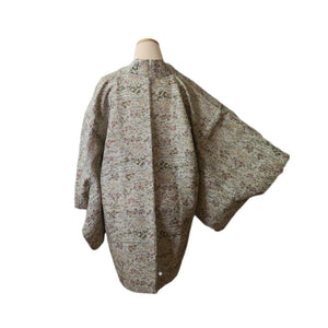 Light Green Botanical Vintage Silk Haori for Kimono (white background / back)